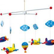 Houten mobiel vliegtuigen helicopter vliegtuigjes jongens meisjes rood babykamer mooi uniek goedkoop decoratie accessoire