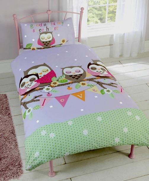 1 persoons dekbedovertrek goedenacht uilen blije kids - Mooi slaapkamer meisje ...