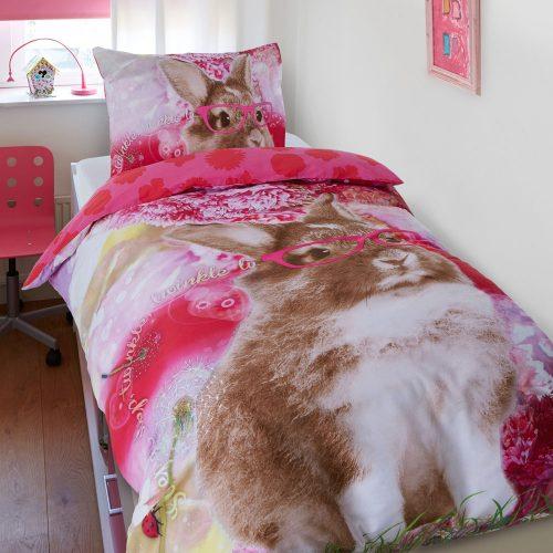 eenpersoons-dekbedovertrek-1-persoons-konijn-roze-slapen-katoen-slaapkamer-kinderkamer-meisjes-bedhoes-goedkoop-kwaliteit