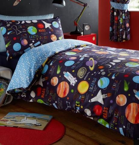 1 persoons dekbedovertrek planeten blije kids - Lay outs ruimte van de jongen ...