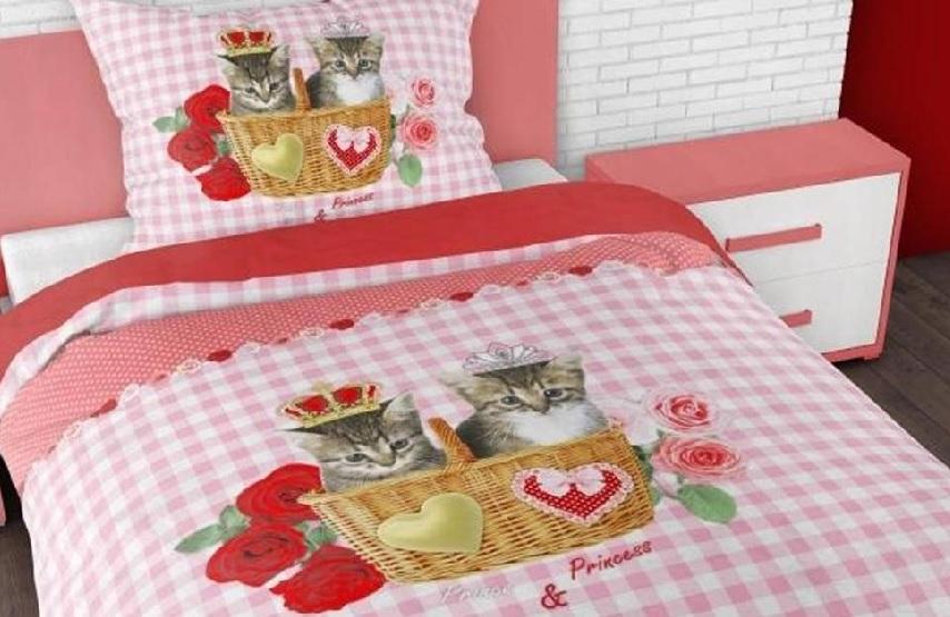 1 persoons dekbedovertrek kitties love blije kids - Schattige meisje slaapkamer ...