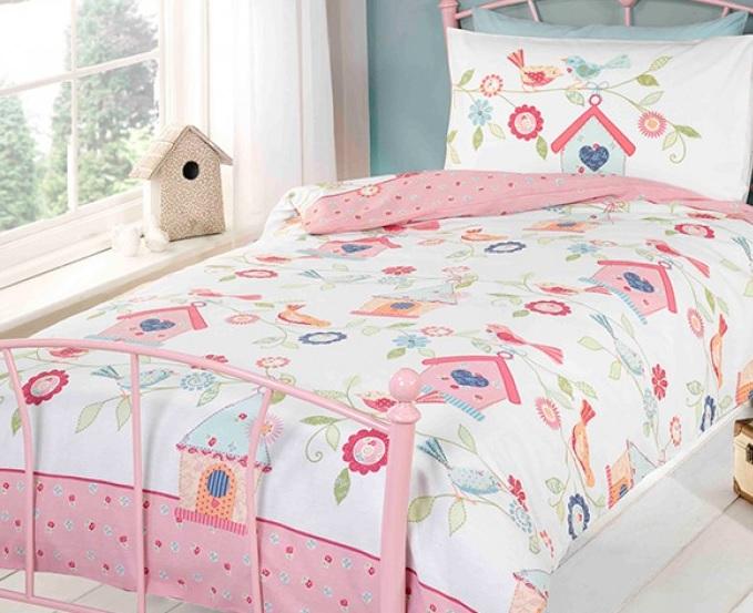 1 persoons dekbedovertrek vogelhuisje blije kids - Mooi slaapkamer meisje ...