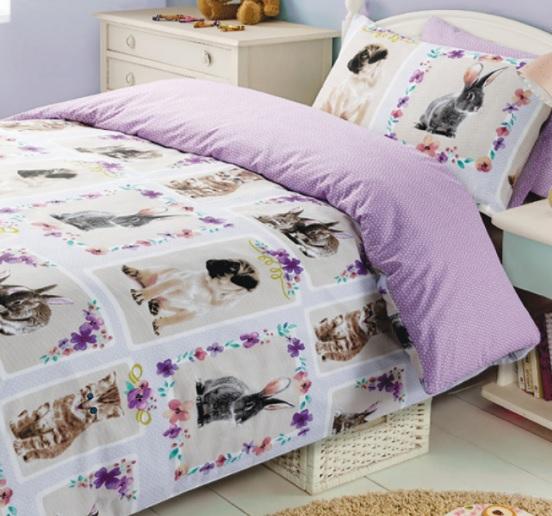 1 persoons dekbedovertrek dierenliefde met konijnen honden en poezen blije kids - Mooi slaapkamer meisje ...