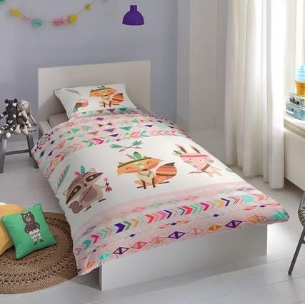 1 persoons dekbedovertrek avontuur met vos wasbeer konijn blije kids - Mooi slaapkamer meisje ...