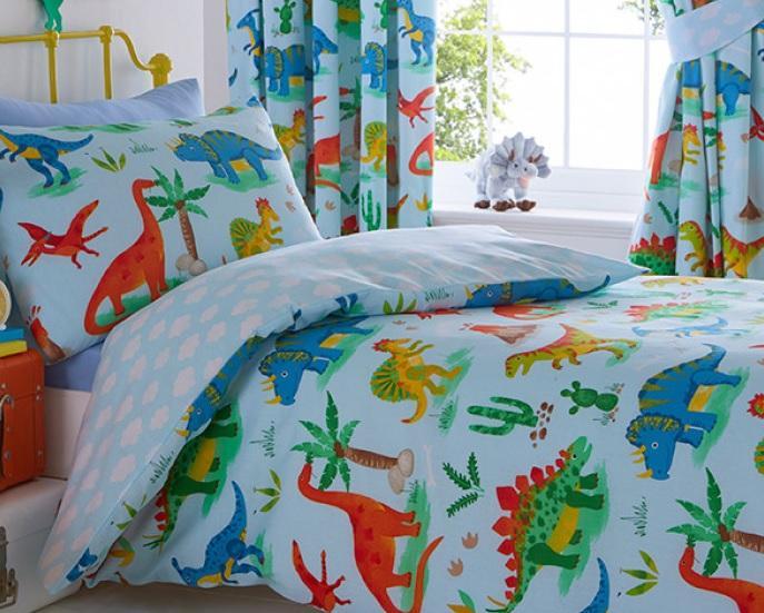 1 persoons dekbedovertrek gekleurde dinosaurussen – Blije Kids
