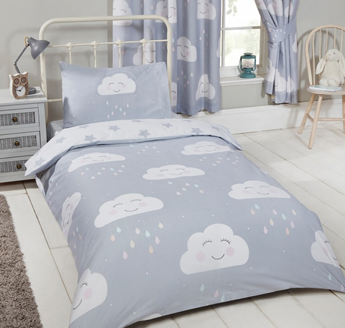 Peuter / junior dekbedovertrek vrolijke wolkjes – Blije Kids