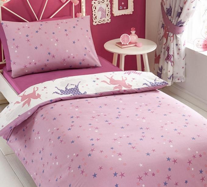 051a1a7f927246 1 persoons meisjesdekbedovertrek roze en paarse eenhoorns / unicorns ...