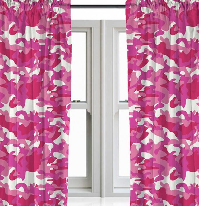 Gordijnen leger / camouflage roze 168 cm breed en 137 cm lang ...